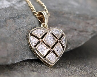 Vintage Diamond Heart Pendant - 9K Gold - Heart Necklace - Sweetheart - Yellow Gold Antique Jewellery - Heirloom Necklace