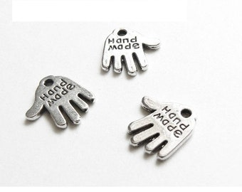 set of 10 charms hand hand made Silver (B55)