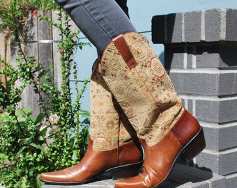 Vintage 80's Brown Leather Southwestern Boots