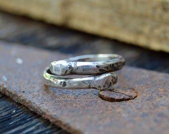 Matchstick Sterling Ring. Handmade . Fine Silver . Rustic . Earthy . Boho . Sz 10.5
