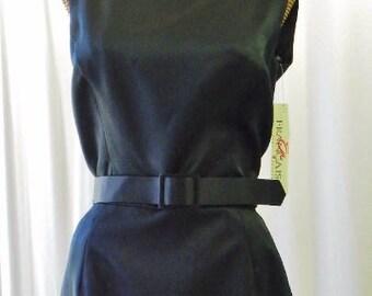 Walters Satin Pencil Dress Unworn Vintage Belted Black 200.00 Retail