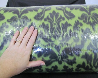 Damask Fleece Fabric per 1 yard - Kiwi and Black Print - use for ponchos, scarves, mittens or blankets