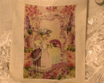 French Market Marie Antoinette Muslin Party Favor Gift Pouches Adorned with Glitter ECS
