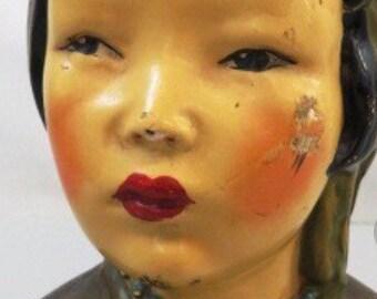 OOAK Antique Art Deco era Joe Celona Chalkware Sculpture of Oriental Woman
