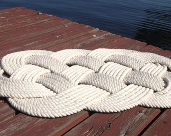 "Rope Rug, Nautical Bathmat, Cotton Nautical Mat and Rug, Nautical Decor, Nautical Bathroom, 30"" by 19"",Treat Yourself, Rope Rug, Handmade"