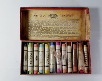 Vintage F. Weber Box of Artists' Pastels