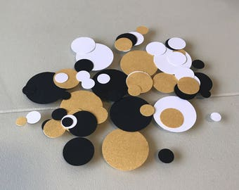 Black, White, & Gold Party Confetti / Party Decor / Circles / Birthday / Anniversary / Baby Shower / Bridal Shower / Bachelorette Party