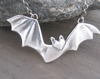 Bat Necklace,  Sterling SIlver Bat, Flying Fruit Bat, Large Bat Necklace, Silver Necklace