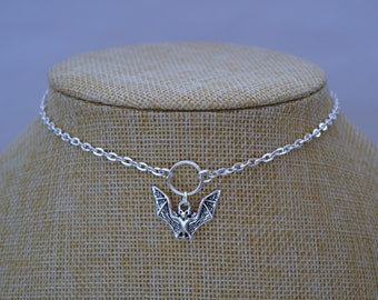 "BAT O RING Necklace, Silver Plated Cable Chain... Handmade, 16"" 18"" 20"""