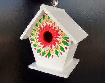 The White Floral Burst Birdhouse