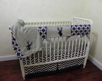 Custom  Baby Crib Bedding Set Bentley -  Boy Baby Bedding, Deer Crib Bedding, Bumperless Crib Bedding, Navy and Gray Crib Bedding