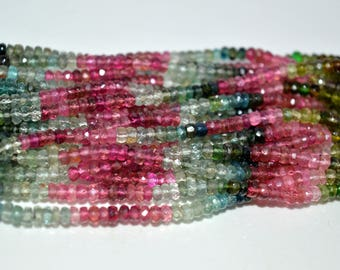 Top Quality !!!~ 100% Natural Multi Tourmaline Faceted Rondelles Size 4mm Approx  13'' Inch Natural Quality Gemstone Beads