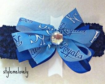Kansas City Royals Baby Girl Boutique Bow Crocheted Headband