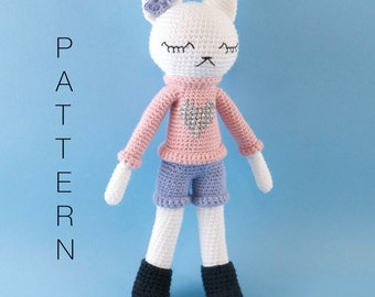 Amigurumi Kitty Cat in a sweater, shorts and boots - Lexie PATTERN ONLY (English)