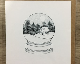 Snowglobe Blank Greeting Card Christmas