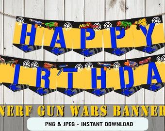 INSTANT DOWNLOAD - Printable birthday banner dart, dart gun banner, dart banner, birthday dart gun banner, dart nerf banner,