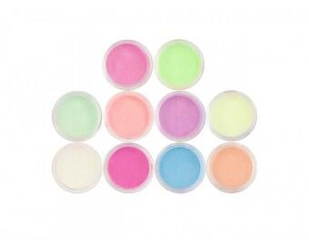 10 multicolored phosphorescent powder boxes