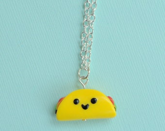 Taco Charm Necklace Food Jewelry, Taco Necklace, Taco Tuesday, Polymer Clay, BFF Gift