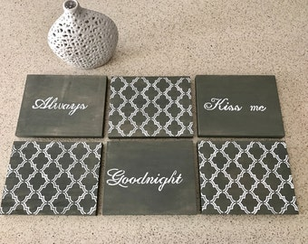 Always Kiss me Goodnight-collection-canvas at-home decor- inspirational art-bedroom decor-handmade-custom-words to live by-love-art-patterns