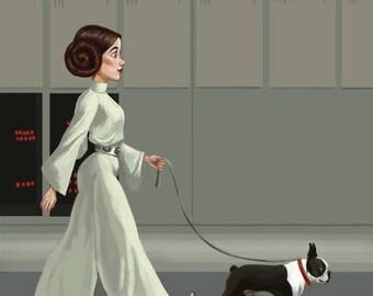 Princess Leia walking a Boston Terrier, Boston terrier gift, Boston terrier art print, Star wars art, wall decor
