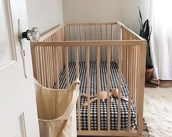 Vichy-Karo Schwarz weiß Bettwäsche - Einbau Spickzettel / ändern Pad Abdeckungen /Mini Kinderbett Bettwäsche Check Baby Bettwäsche /Alma Mini Blatt /Neutral Kindergarten