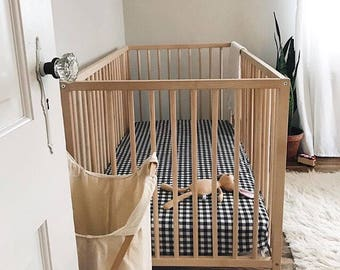 Gingham Black White Bedding - Fitted Crib Sheet / Changing Pad Covers /Mini Crib Sheets Check Baby Bedding /Alma Mini Sheet /Neutral Nursery