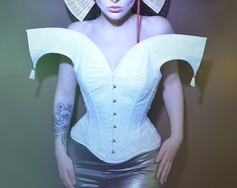 25 inches  waist size Handmade overbust fashion corset White leather and feather velvet boned and cinched with joker detail