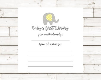 Baby's First Library Book Plate Insert 4x4- Instant Download