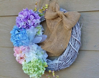 READY TO SHIP Spring Hydrangea Wreath with Burlap Bow