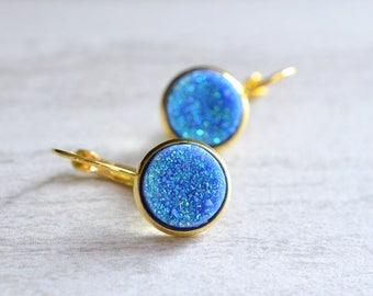 Starlight - Bridesmaid Earrings Blue Earrings Druzy Earrings Gold Leverback Statement Earrings