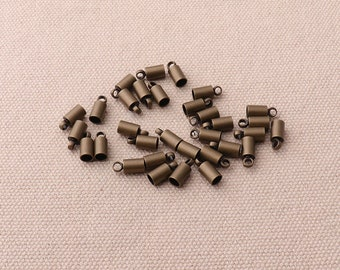 20pcs Bronze 9mm Cord End Caps Tubes Cord Loops Perfect for 3mm Cords Jewelry Findings Supplies