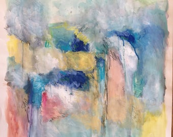 Original Painting - Abstract - Watercolor / Pastel Painting on Paper