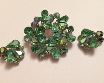 WEISS Stunning Rhinestone Brooch and Clip On Earrings Demi Parure