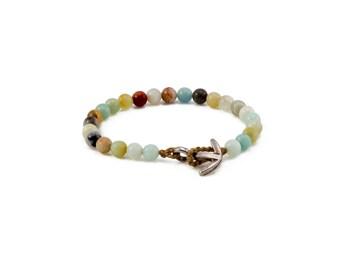 Anchor Mallah Bracelet, Jade Anchor Bracelet, Womens Bracelet, Boho Jewelry, Gift For Her, Tassel Bracelet, Beaded Bracelet, Layers Bracelet