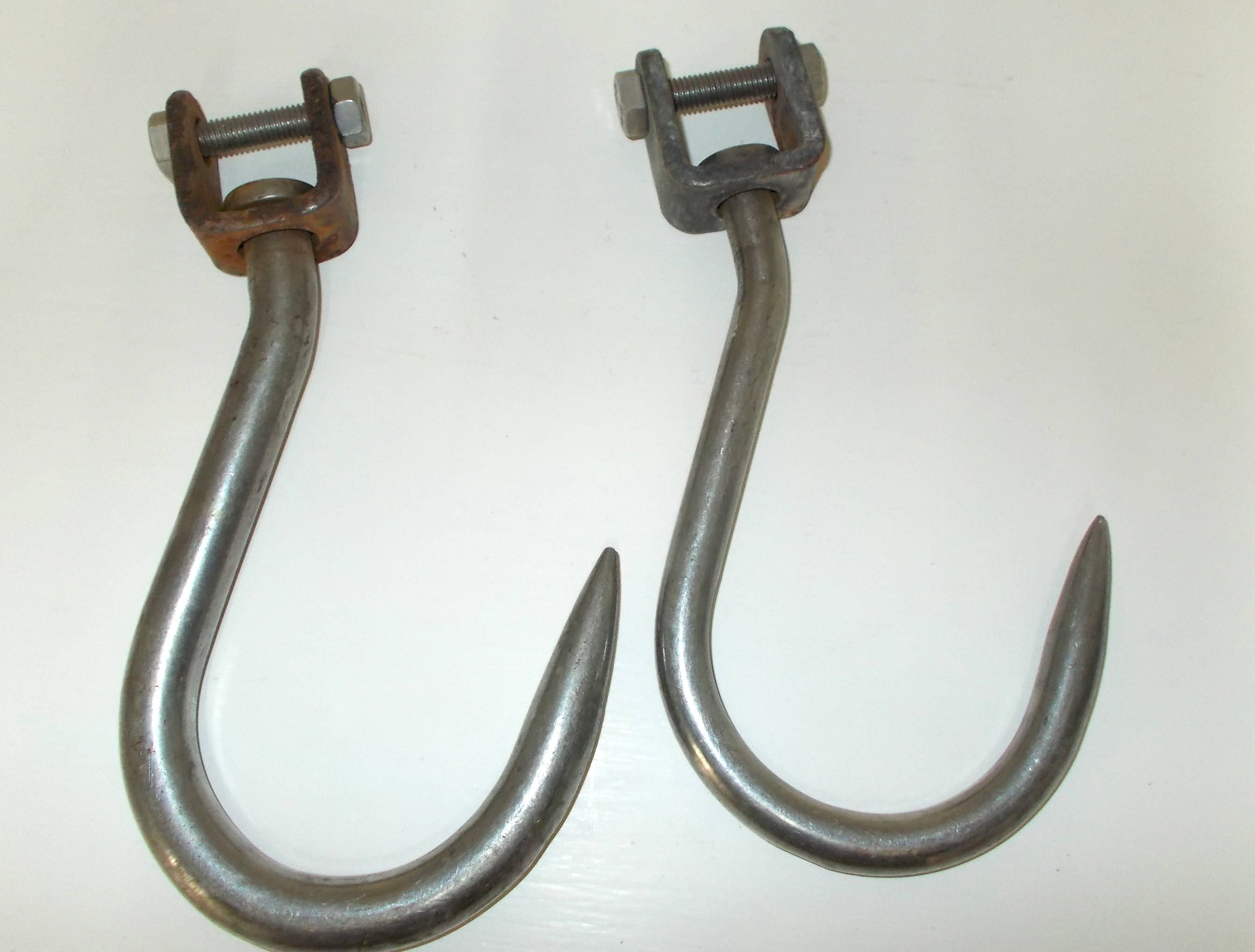 2 Extra Large Butchers Hooks. Vintage French Stainless Steel Hooks ...