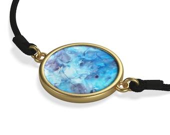 Cord Bracelet, silver Sterling, 18k gold plated, shiny blue cham