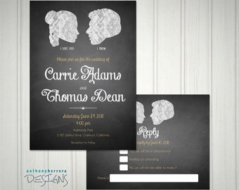 I Love You, I Know, Chalkboard Art, Printed Wedding Invitation and RSVP Card with Custom Names and Info