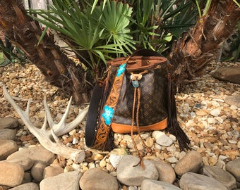VINTAGE SWAG Boho Inspired Fringed Vintage Louis Vuitton Bucket Bag