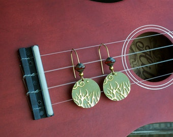 Painted Brass Embossed Tree with Saturn Glass Czech Bead Earrings