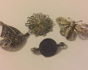 Victorian Sterling  Silver Brooch Lot, Filigree Butterfly, Sailing Boat, 1886 Three Pence Piece Pin