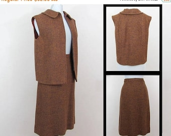 SALE 20% off - 1960s Skirt & Zipper Vest Set - Cinnamon brown tweed - M-L