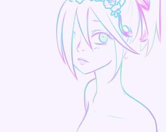 Digital Anime Artwork: Flower Girl
