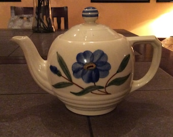 Vintage Shawnee teapot with blue flower