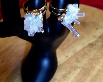 Crystal Quartz Cluster Rings
