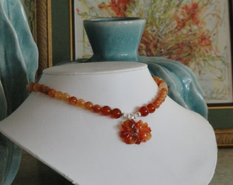 Carnelian beaded necklace with Carnelian Flower pendant  -  221