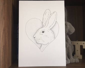 Bunny Print / Bunny Wall Art / Rabbit Wall Art / Rabbit Print / / Bunny Rabbit Print / Rabbit Drawing / Rabbit Illustration / Bunny Artwork