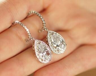 Teardrop Earrings, Drop Earrings, Wedding Earrings, Crystal Earrings,Bridal Earrings, Bridesmaid Earrings, Wedding Jewelry, Cubic Zirconia