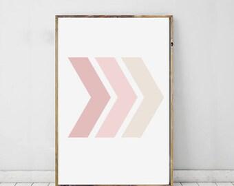 Chevron Art Print Geometric, Pink Chevron Wall Print, Chevron Modern Art, Geometric Print, Shape Print, Modern Art For Home