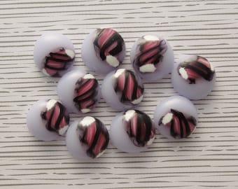 Fused Glass Mini Cabochons - Lampwork Beads - Fused Glass - Findings - Glass Beads - Stained Glass - Pink Beads 6288