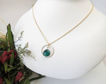 Emerald Quartz Necklace, May Birthstone, Green Gemstone Necklace In 14K Gold Filled, Emerald Pendant, 15-22 Inches Length, Emerald Jewelry